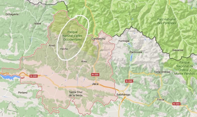 Localización La Jacetania y Valle de Hecho...