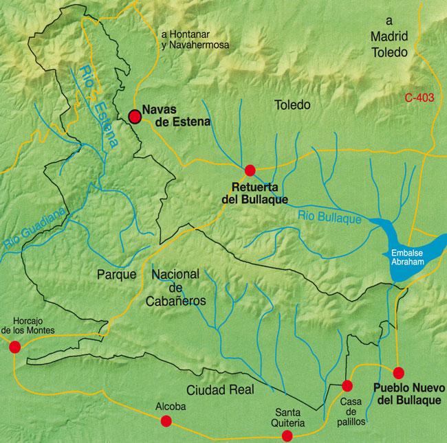 Mapa Parque Nacional de Cabañeros