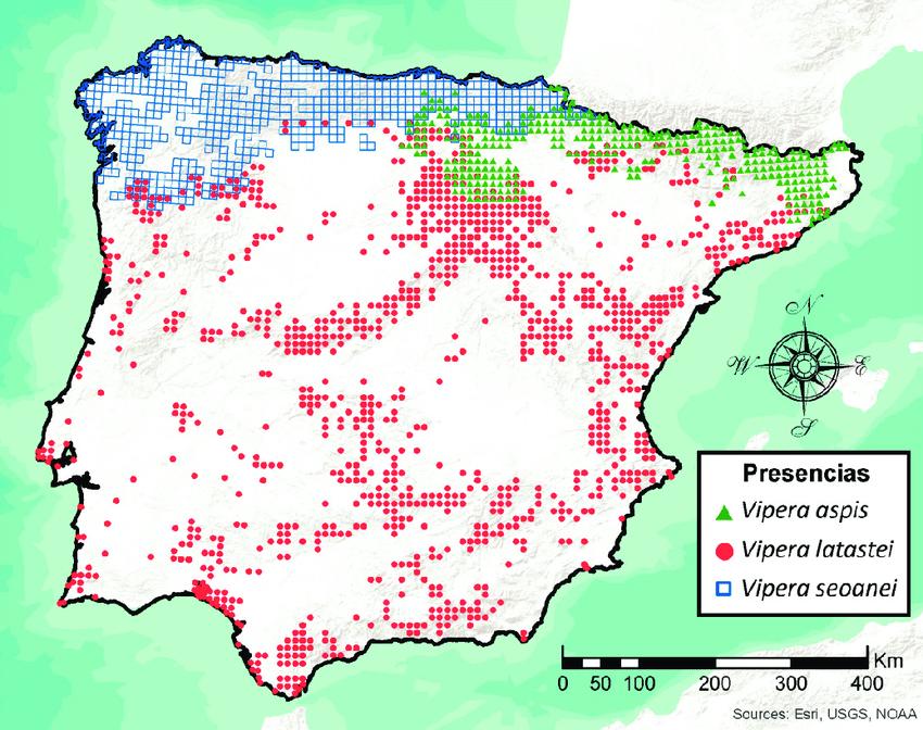 Mapa distribución víboras ibéricas