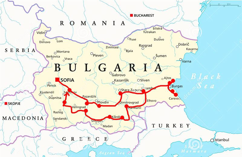 bulgaria herp trip map